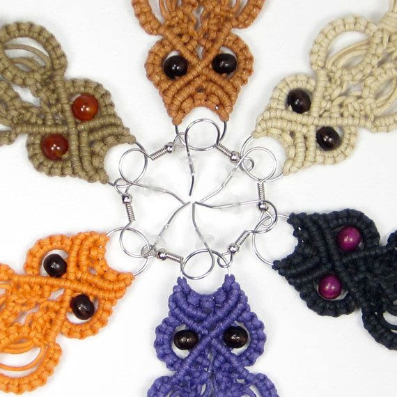 Micro Macrame Owl Earrings, Indie Halloween Jewelry, Custom Color Hemp, Orange, Purple, Black, Cream, Rust