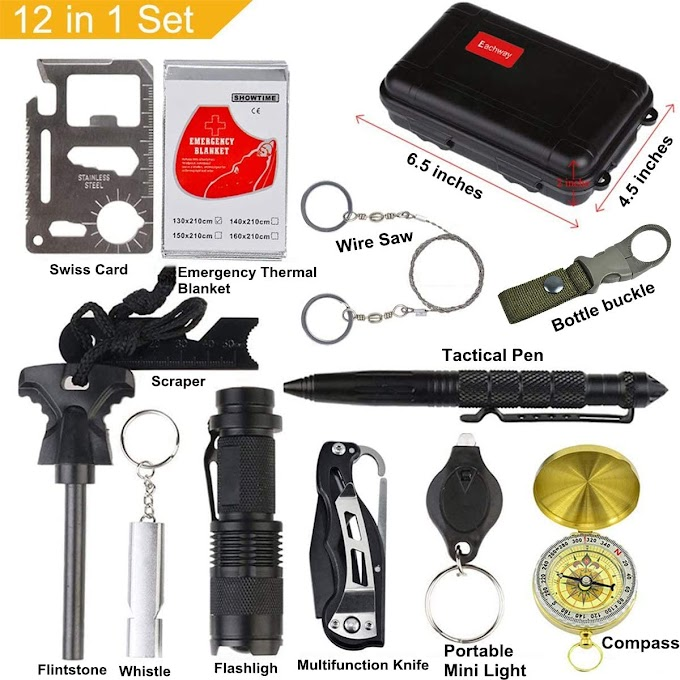 12 in 1 Professional Survival Gear Tool, Survival Kit
