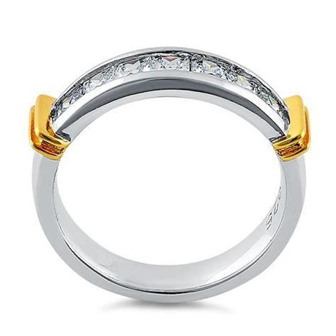Sterling Silver Men's Two Tone Yellow Gold Wedding Band CZ