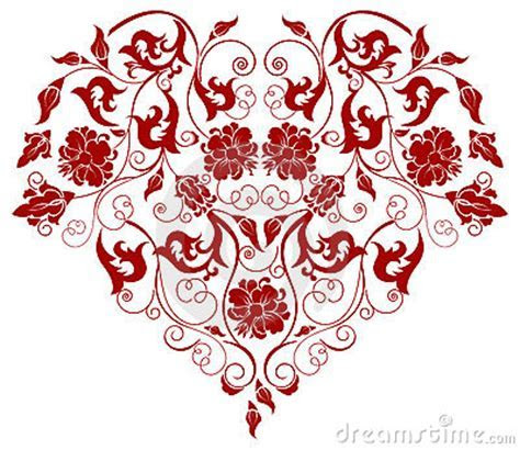 Red Heart With Filigree Ornament Stock Photos   Image: 7785673