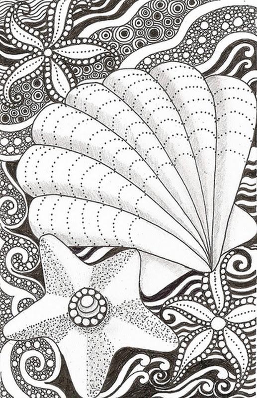 Dibujo Para Colorear Relajante Mar Estrella De Mar Y Concha 4
