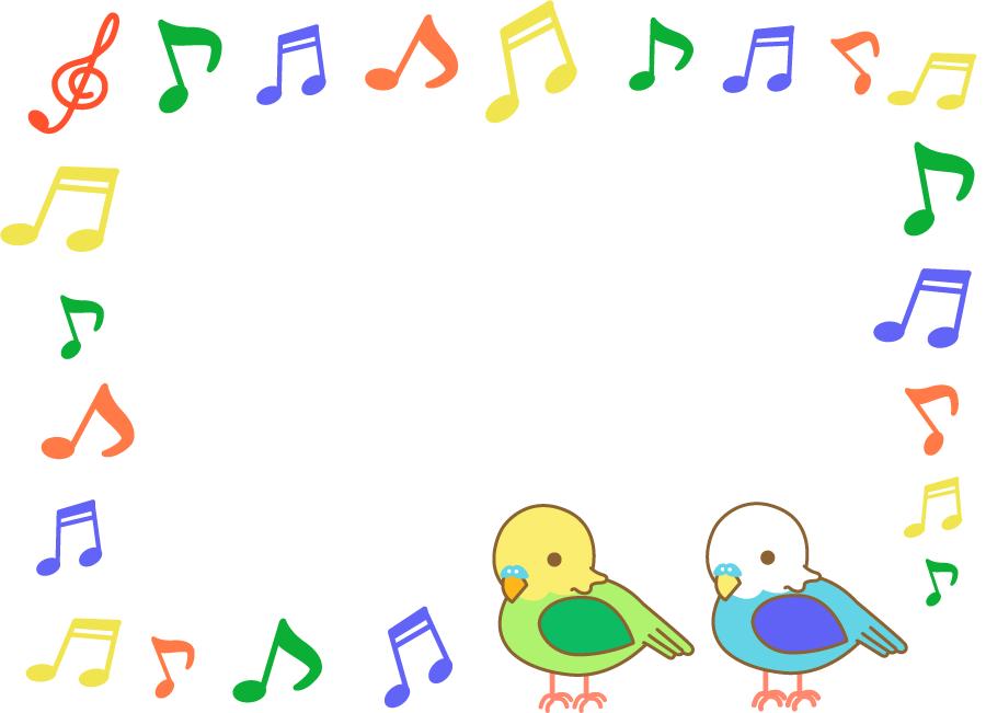 フリーイラスト インコとカラフルな音符のフレームでアハ体験 Gahag