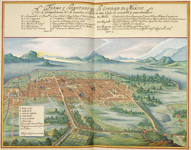 17th cent. hand-coloured engraving of Mexico