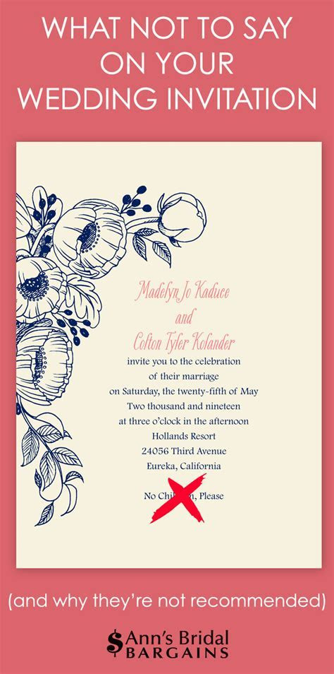 What NOT to Say on Your Wedding Invitation   Ann's Bridal