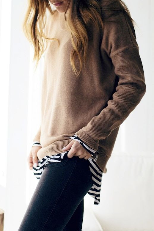 Le Fashion Blog Blogger Style Camel Layers Sweater Striped Shirt Black Denim Via Lindsay Marcella