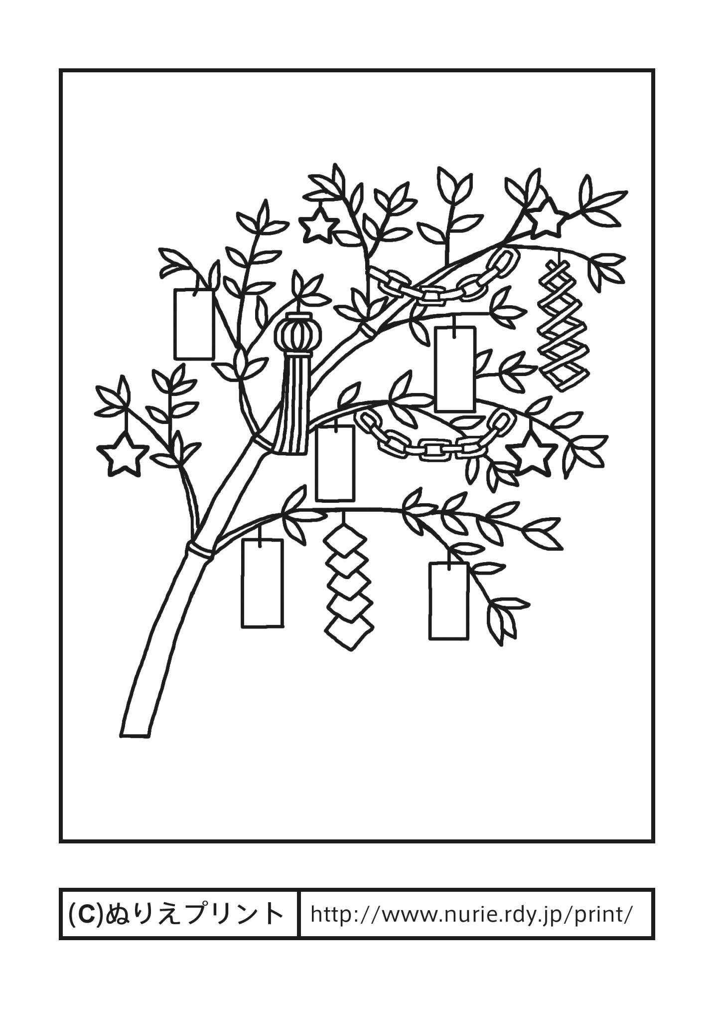 笹の葉の飾りつけ主線黒七夕夏の季節行事大人の塗り絵