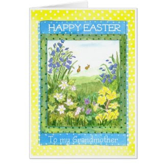 Spring Flowers Easter Card for a Grandmother