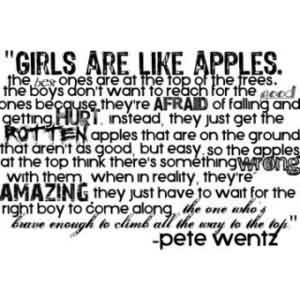 Fabulous Celebrity Quote By Pete Wentz Girls Are Like Apples