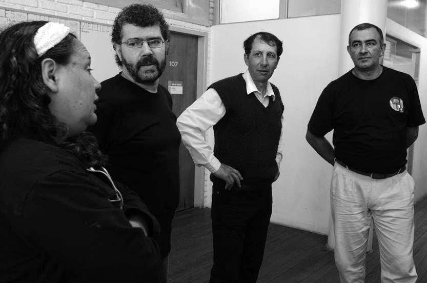 María Flores, Antonio Rammauro, Wilber de los Santos y César Rodríguez, ayer, en la Dirección Nacional de Trabajo (Dinatra).