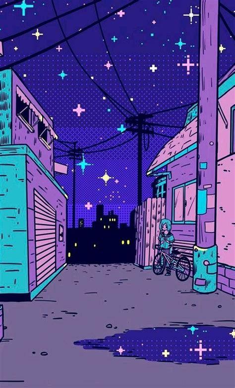 anime aesthetic vaporwave purple blue colors color
