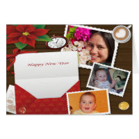Happy New Year's w/ Holly Add Photo Greeting Card