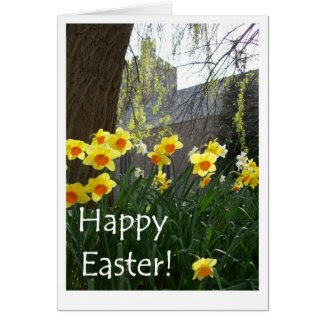 Easter Card with Daffodils and Church