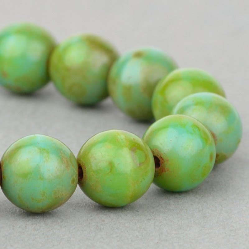 s49134 Czech Glass - 6 mm Round - Green Turquoise Picasso (25)