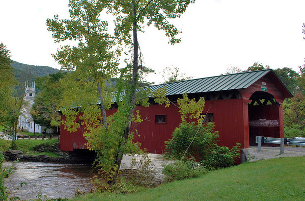 An 80-foot Town Lattice design spanning the Battenkill River, the West Arlington Covered Bridge is also known as the Bridge on the Green.