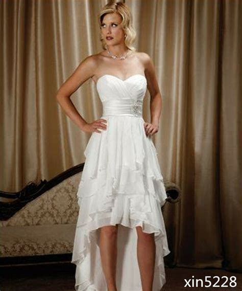 Short Bridal Gowns Sweetheart Chiffon High Low Country