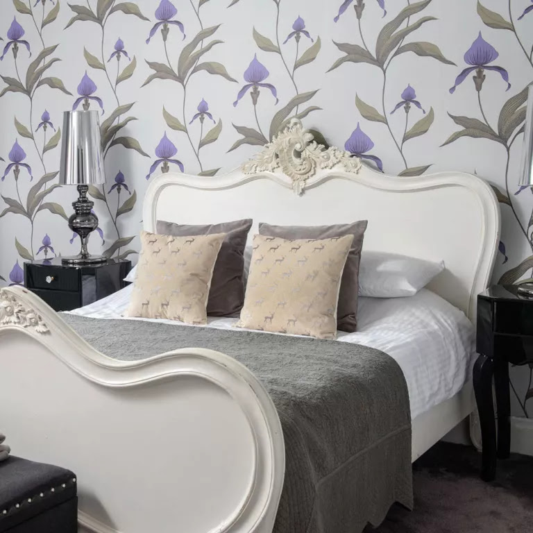 Grey modern bedroom with floral wallpaper