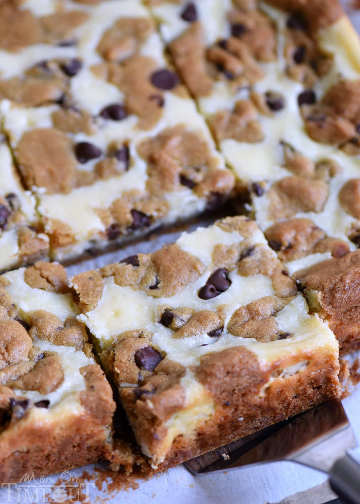 Chocolate Chip Cookie Cheesecake Bars - Mom On Timeout