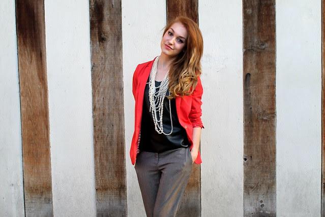 Orange blazer, peg leg trousers (2)