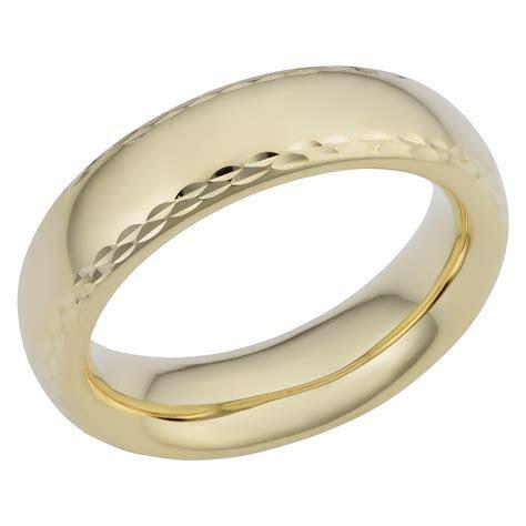 14k Yellow Gold Diamond Cut 6mm Wide Hollow Wedding Band