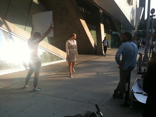 Photo shoot, outside the Cooper Union, East Village