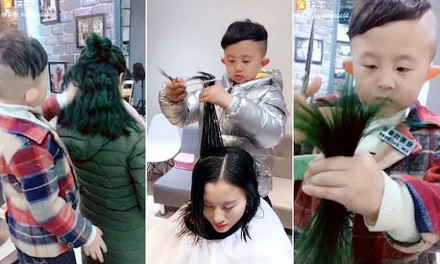 6 YO Chinese kid is ready to give you a desirable hair cut, video goes viral
