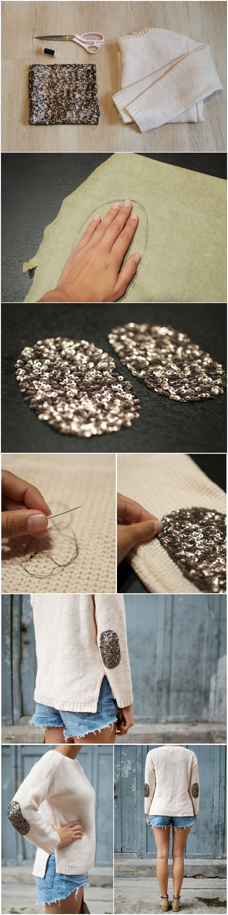 sequin elbow patches. From a pair & a spare. ( http://apairandasparediy.com/2012/10/diy-sequin-elbow-patch-sweater.html )