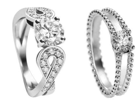Contemporary platinum and diamond engagement rings by Van