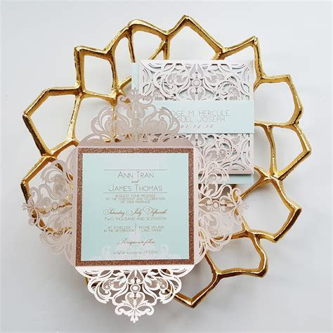 Rose Gold Wedding Invitation, fairytale Laser cut
