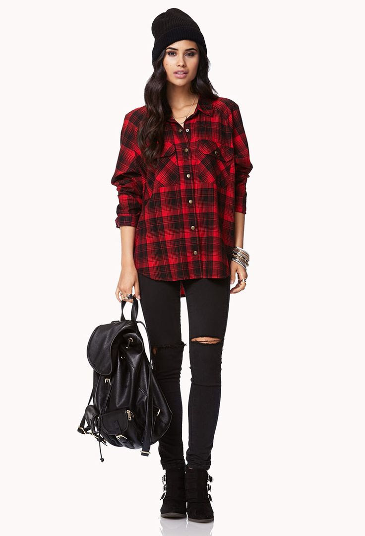 red plaid shirt ripped black skinny jeans and black