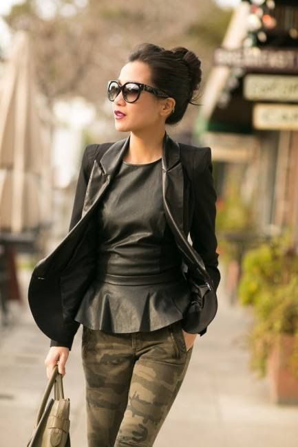 Not too sure about the pants but love the top & blazer - Structured Camo :: Leather Trim Blazer & Olive Details by Wendy's Lookbook