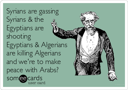 someecards.com - Syrians are gassing Syrians & the Egyptians are shooting Egyptians & Algerians are killing Algerians and we're to make peace with Arabs?