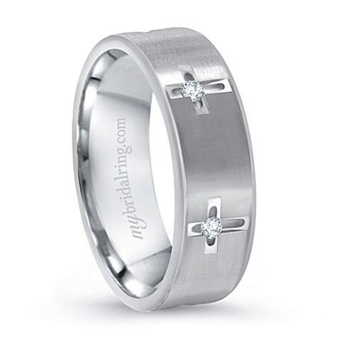 Multi Stone White Gold Cross Christian Wedding Ring   Mens
