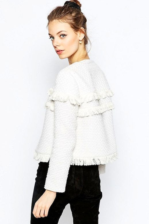 Le Fashion Blog Budget Friendly Under 100 Cropped White Fringe Jacket Black Jeans Via Asos