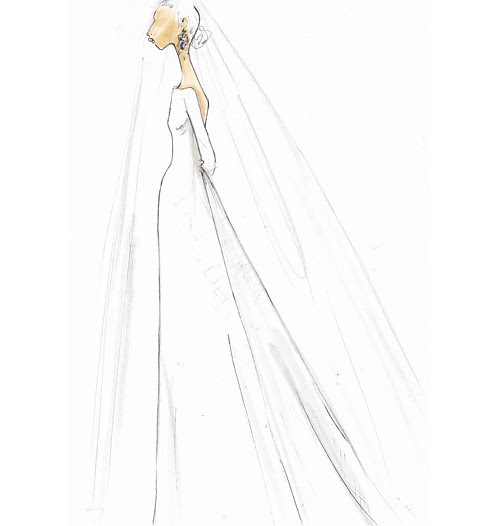 Wedding Dress Sketches - by Tom Mora from J_Crew for Kate Middleton