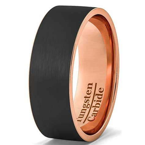 mens wedding band black rose gold color cool tungsten