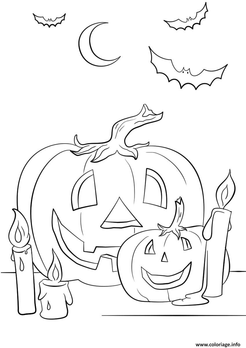 Coloriage Halloween Citrouilles Chandelle Chauve Souris Jecoloriecom