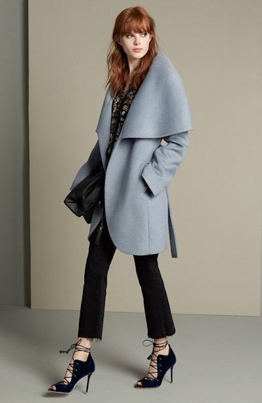 Le Fashion Blog A Blue Coat For Your Closet T Tahari Wool Blend Pale Blue Coat Via Nordstrom