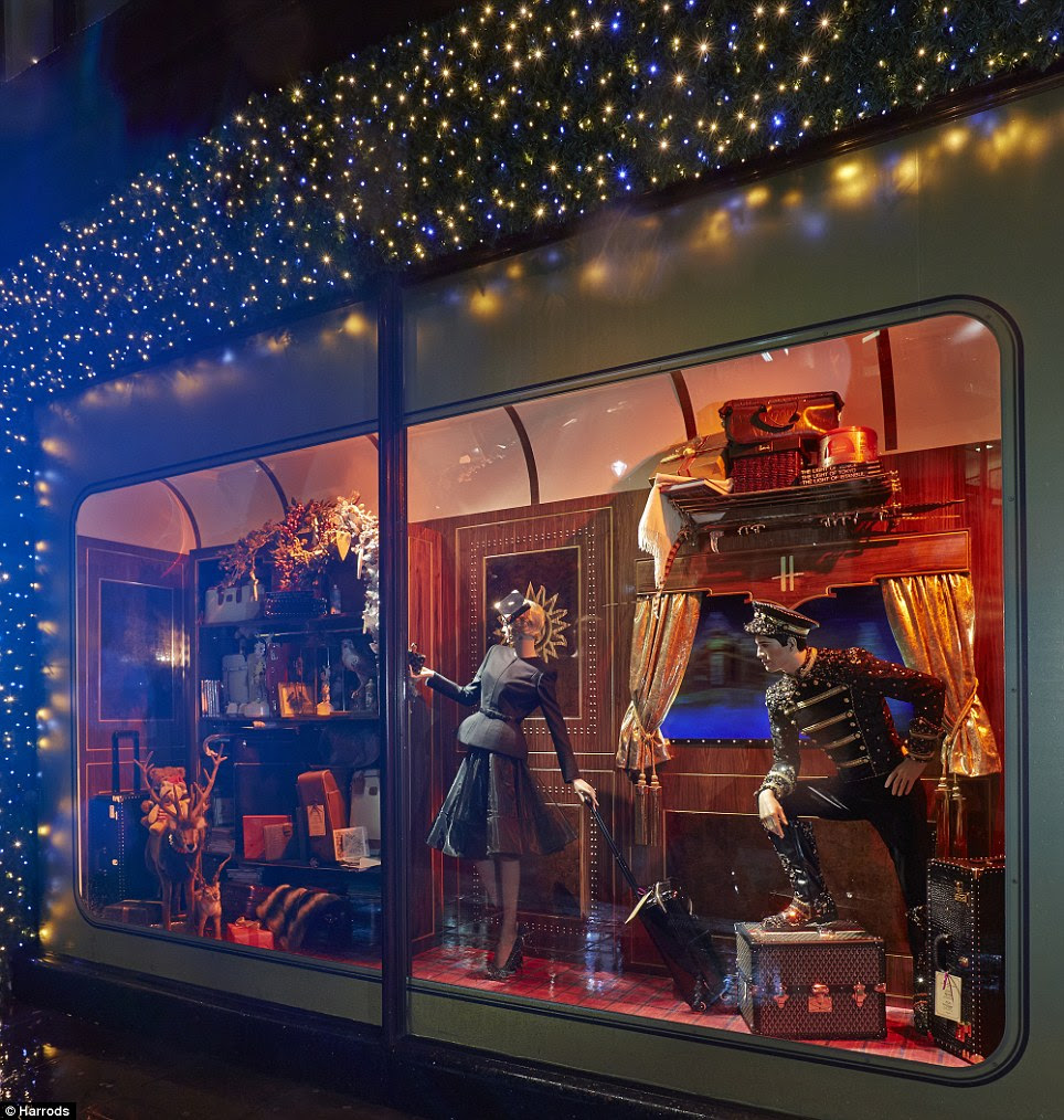 Feeling festive: Exquisite designer evening gowns, elegant jewellery, children's toys and deluxe luggage feature in each Christmassy carriage