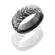 Black Zirconium 8mm Mens Domed Tire Tread Wedding Band