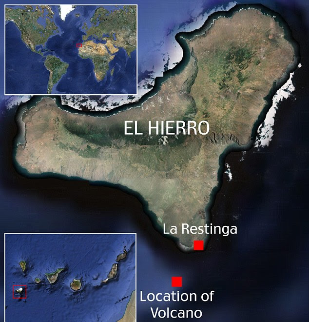 Map showing the location of the volcano off the coast of El Hierro in the Canary Islands