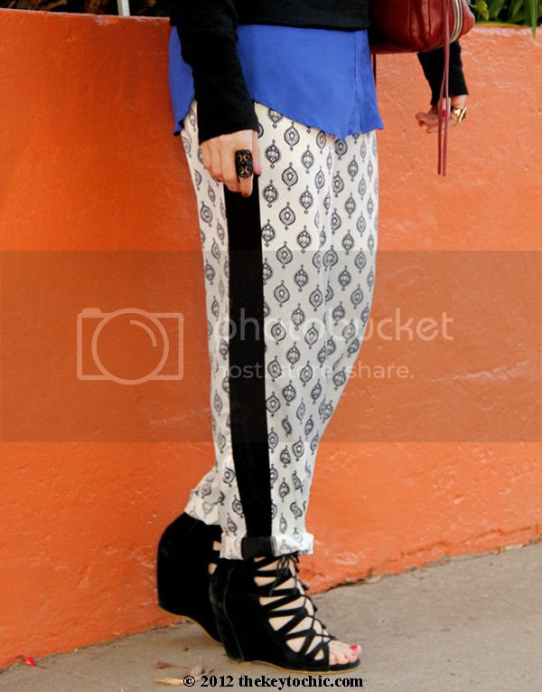 Mossimo sweater, Narciso Rodriguez for DesigNation Kohl's pajama trousers, Narciso Rodriguez Kohl's medallion charmeuse pants, Aldo Maune wedges, Los Angeles fashion blog