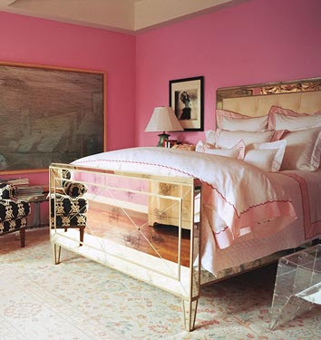 pink wall paint bedroom mirrored bed black and white chair