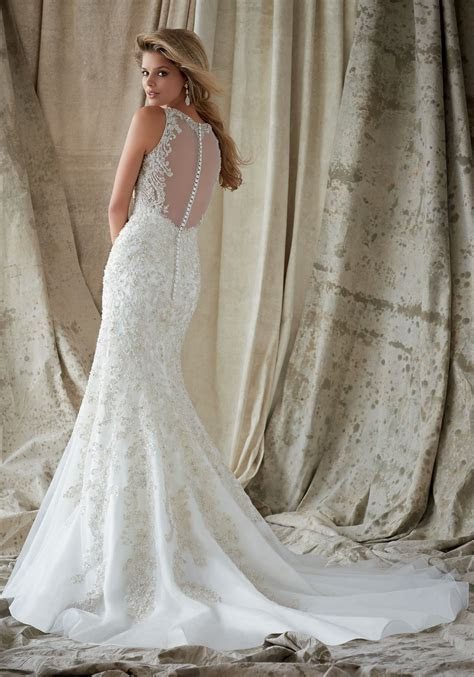 Intricate Embroidery with Swarovski Crystals on Net   Morilee
