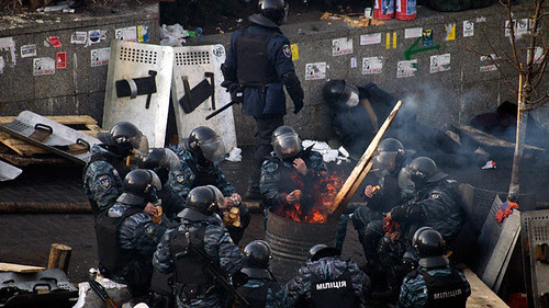 Ukraine police have been clearing debris from demonstrators who have occupied the streets for weeks. Reports indicate that fascist pro-western groups are behind the unrest. by Pan-African News Wire File Photos