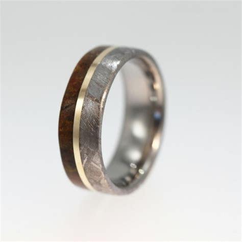 Meteorite Ring, Dinosaur Bone Wedding Band With 14K Yellow
