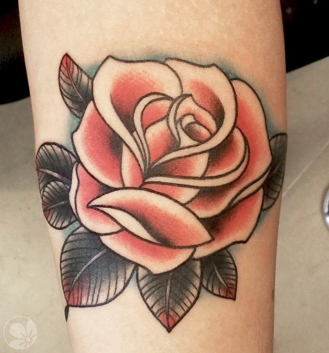 Brown Leafs And Red Rose Tattoo Tattoomagz