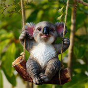 Polyresin swinging koala for gardens