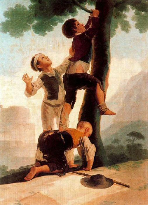 Meninos subindo em uma árvore, óleo por Francisco De Goya (1746-1828, Spain)
