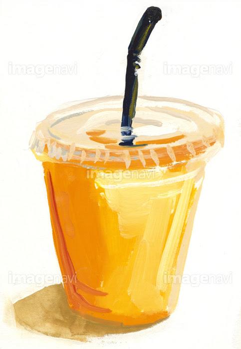 プラスチックのカップに入ったオレンジジュースの画像素材10148691