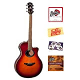 Yamaha APX700 Thinline Cutaway Acoustic-Electric Guitar Bundle with Instructional DVD, Strings, Pick Card, and...